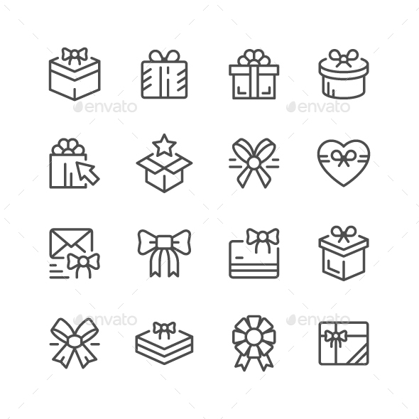 Set Line Icons of Gift - Man-made objects Objects