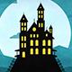 Happy Halloween Forest Mountain Castle Bats