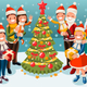 Family at Christmas Snow Night Illustration - GraphicRiver Item for Sale