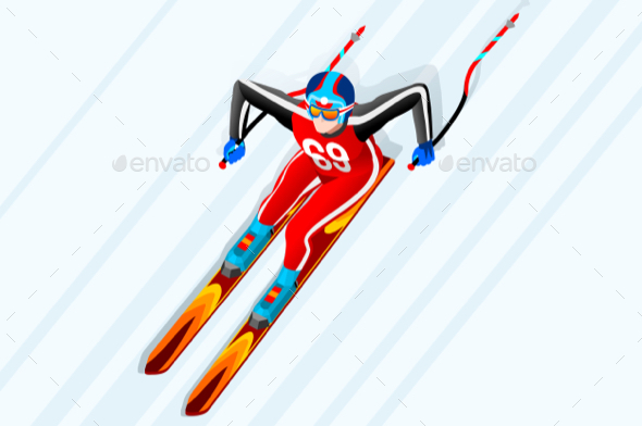 Skiing Downhill Giant Slalom Vector - Sports/Activity Conceptual