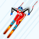 Skiing Downhill Giant Slalom Vector
