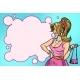 Female Shopaholic in Pink Dress