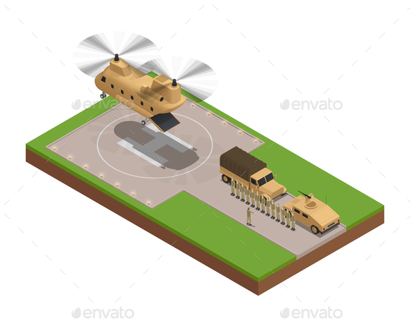 Military Base Isometric Composition - Miscellaneous Vectors
