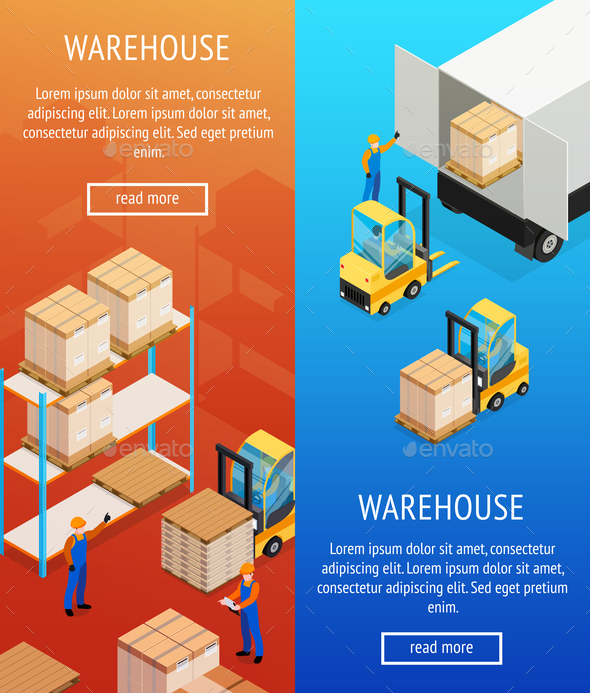 Warehouse Vertical Isometric Banners - Industries Business