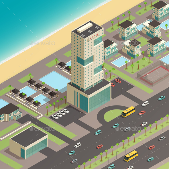 Isometric City Constructor With Luxury Hotel - Buildings Objects