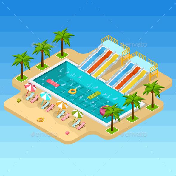 Isometric Aqua Park Composition - Sports/Activity Conceptual