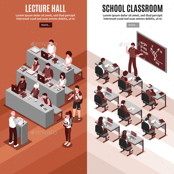 High School Isometric Vertical Banners - Miscellaneous Vectors