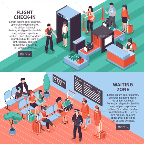 Airport Departure Isometric Banners Design - Miscellaneous Vectors