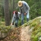 Elderly Active Couple Climbing on the Rock in the Northern Forest - VideoHive Item for Sale