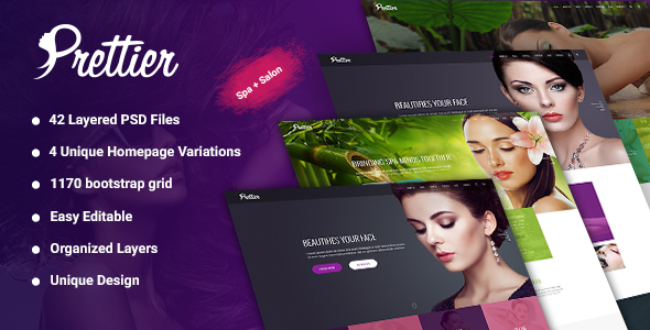 Prettier - Beauty Salon & Spa  PSD Template - Health & Beauty Retail