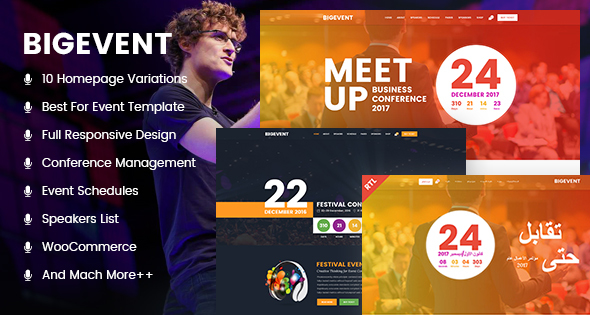 Image of BigEvent - Event, Conference & Meetup HTML Template