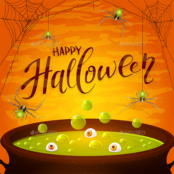 Halloween Cauldron with Green Potion and Spiders on Orange Background - Halloween Seasons/Holidays