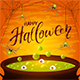 Halloween Cauldron with Green Potion and Spiders on Orange Background