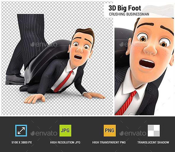 3D Big Foot Crushing Businessman - Characters 3D Renders