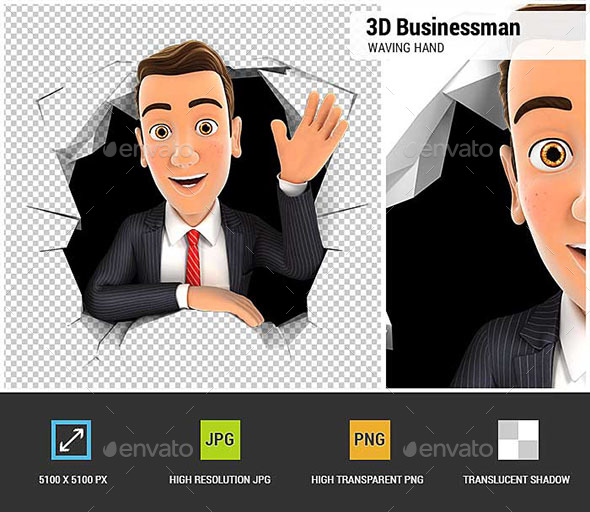 3D Businessman Waving Hand Through Hole in Wall - Characters 3D Renders