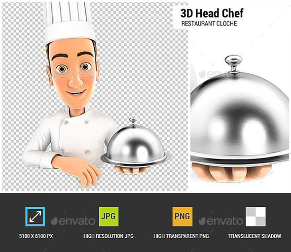 3D Head Chef Holding Restaurant Cloche - Characters 3D Renders