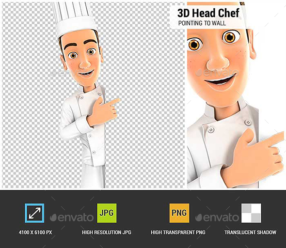 3D Head Chef Pointing to Right Blank Wall - Characters 3D Renders