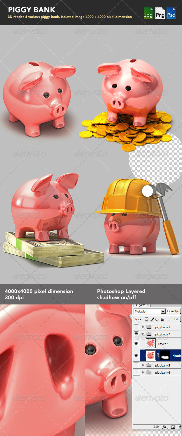 Piggy Bank - Characters 3D Renders