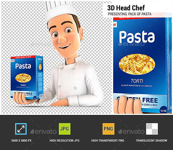 3D Head Chef Presenting Pack of Pasta - Characters 3D Renders
