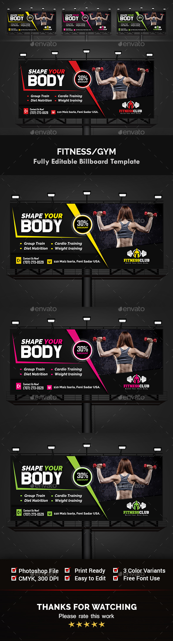 Fitness / Gym Billboard Templates - Signage Print Templates