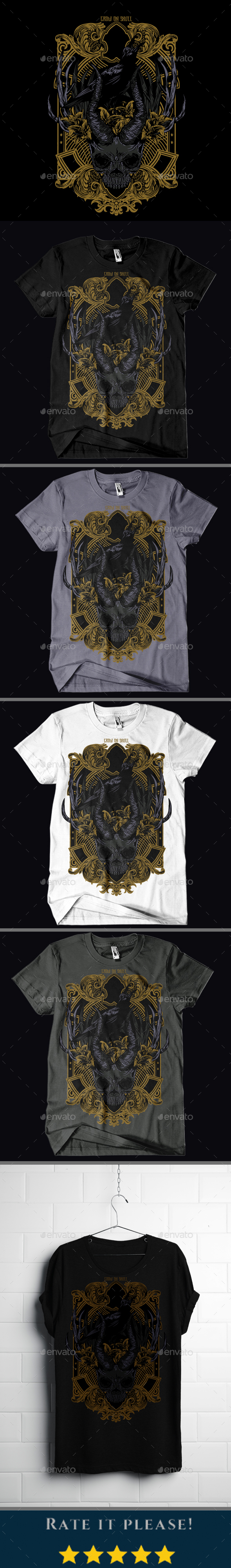Crow On Skull T-shirt Design - T-Shirts