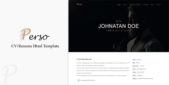 Perso - Personal Resume / CV / Portfolio HTML Template