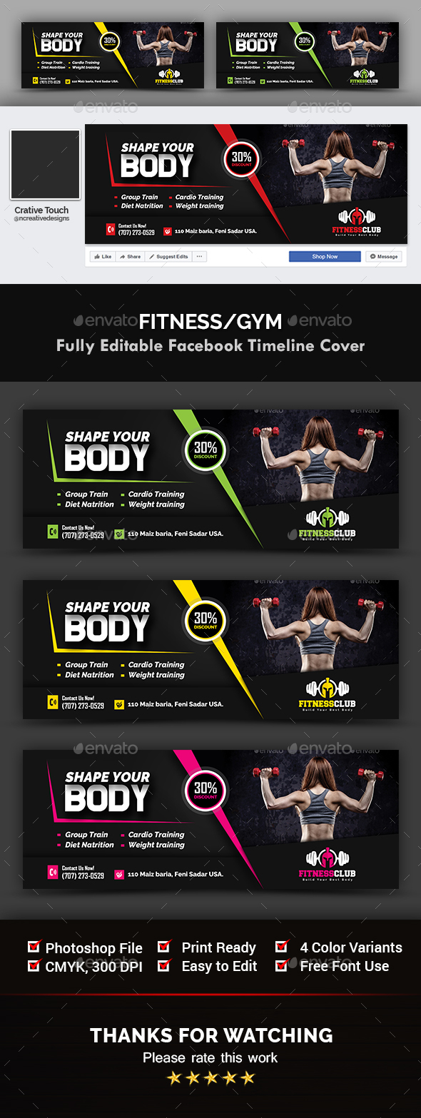 Fitness / Gym Cover Templates - Facebook Timeline Covers Social Media