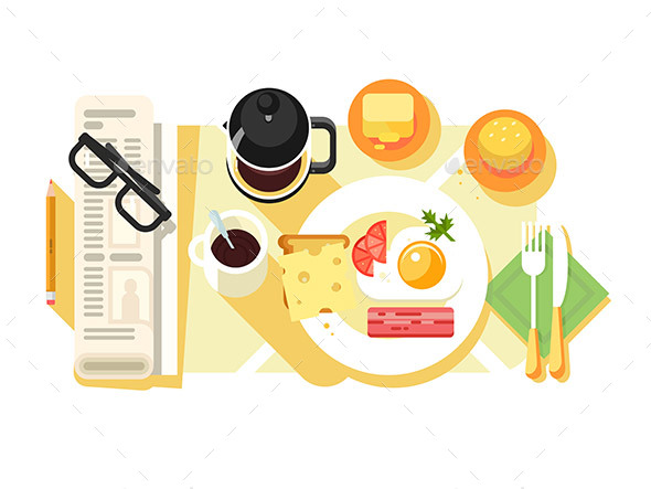 Breakfast Fried Eggs and Coffee Design Flat - Objects Vectors