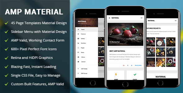 AMP Material | Mobile Google AMP Template - Mobile Site Templates