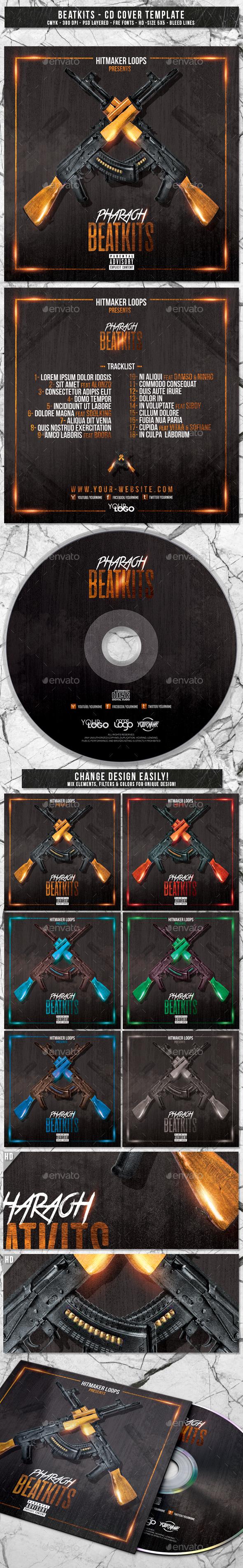 Beatkits | Album CD Mixtape Cover Template - CD & DVD Artwork Print Templates