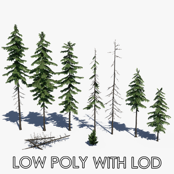Low Poly Pine Tree Pack - 3DOcean Item for Sale