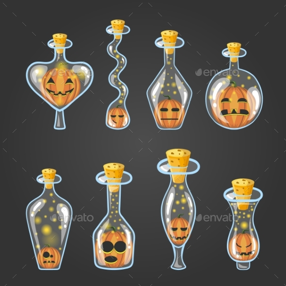 Big Set of Bottle Elixir with Halloween Pumpkin