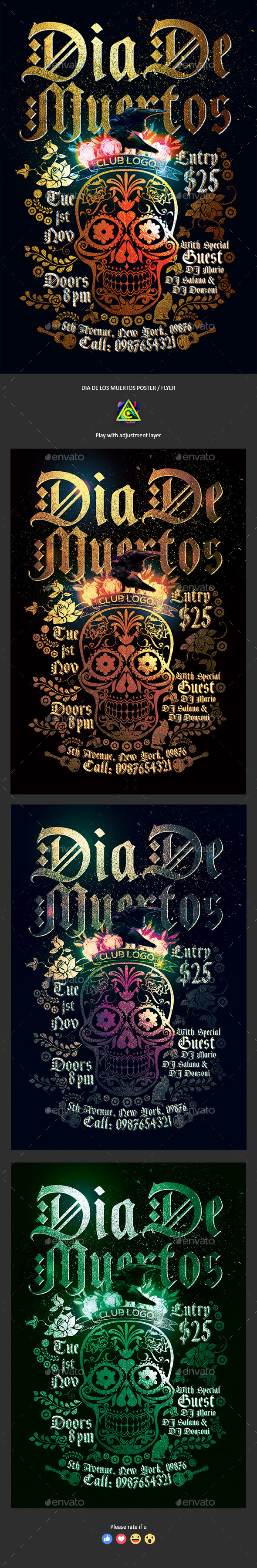 Dia De Los Muertos Party Poster / Flyer - Clubs & Parties Events
