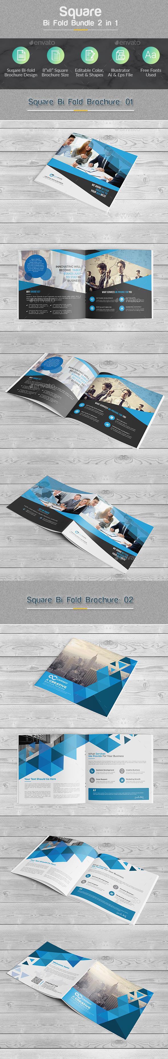 Square Bi-fold Brochure Bundle 2 in 1 - Corporate Brochures