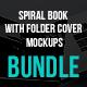 Spiral Hardbound Book With Folder Cover Bundle Mockups