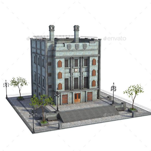 Retro Building - Architecture 3D Renders