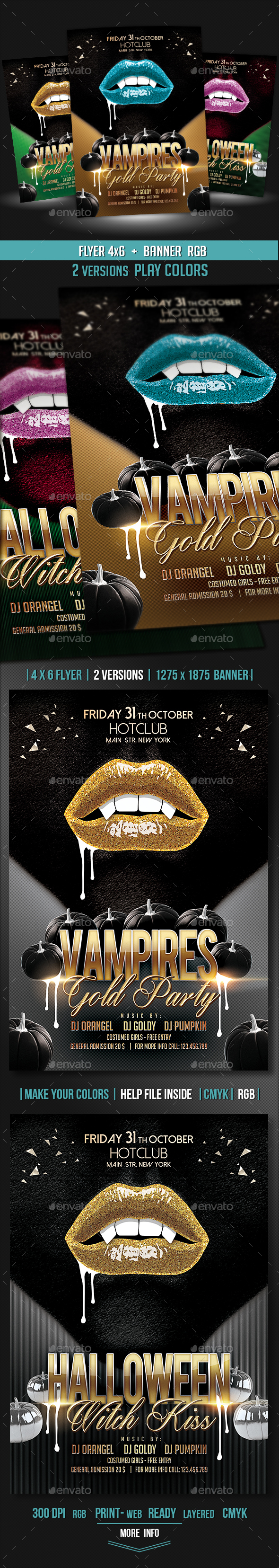 Vampires Lips Flyer + Banner - Events Flyers