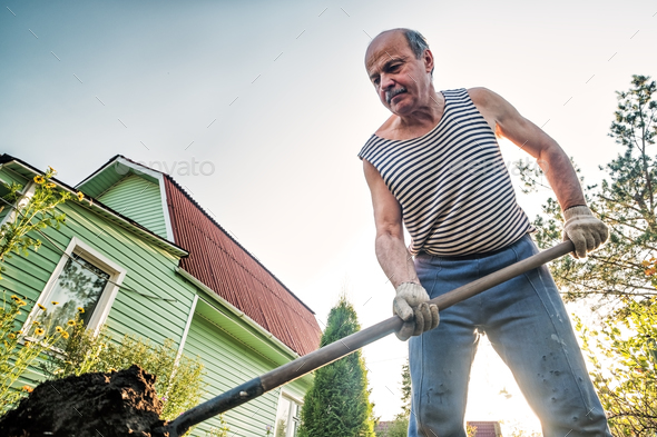 Portrait of caucasian male farmer with shovel digging the land in the country house - Stock Photo - Images