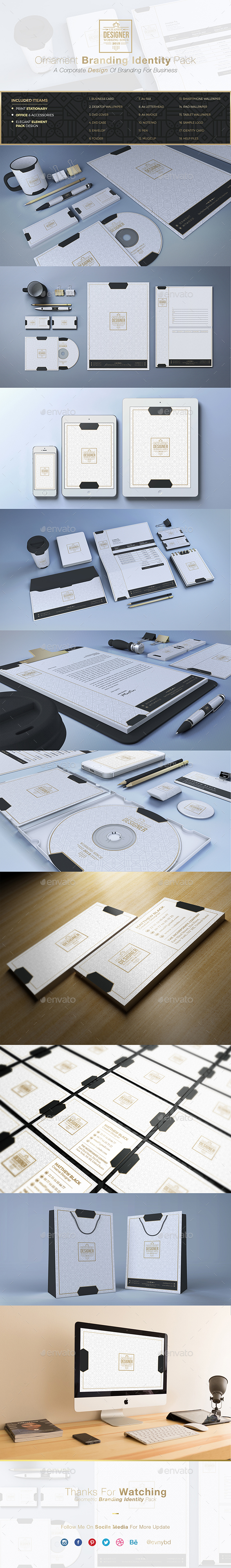 Ornament Elegant Creative Identity - Stationery Print Templates