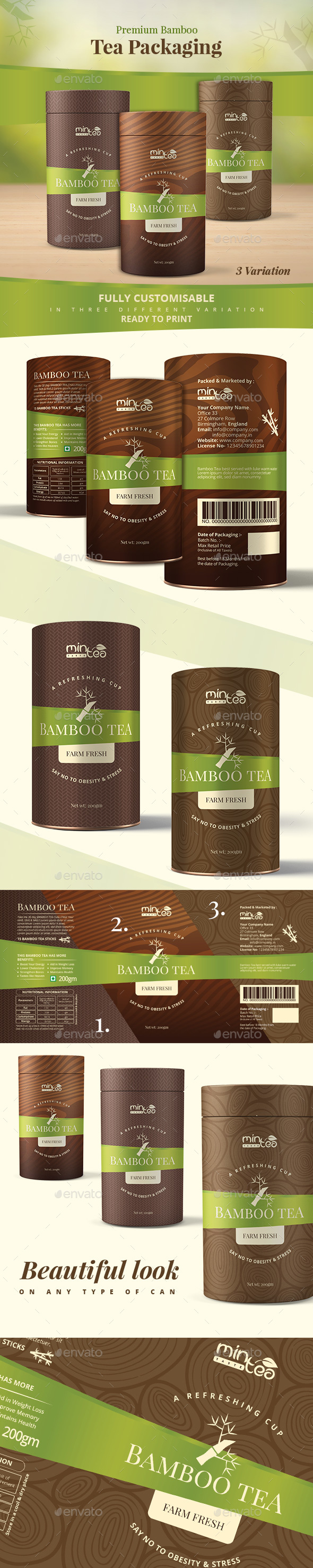 Premium Bamboo Tea Packaging - Packaging Print Templates
