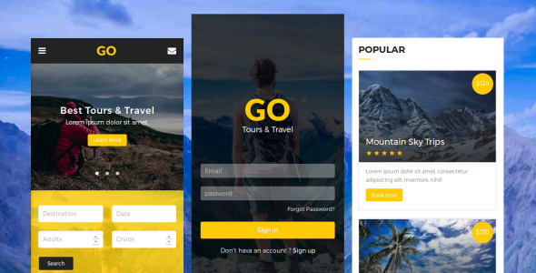 Go - Tours & Travel Mobile Template - Mobile Site Templates