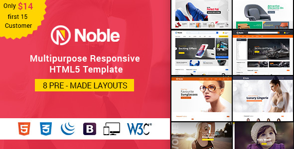 Noble - Responsive Multipurpose E-Commerce HTML5 Template - Retail Site Templates