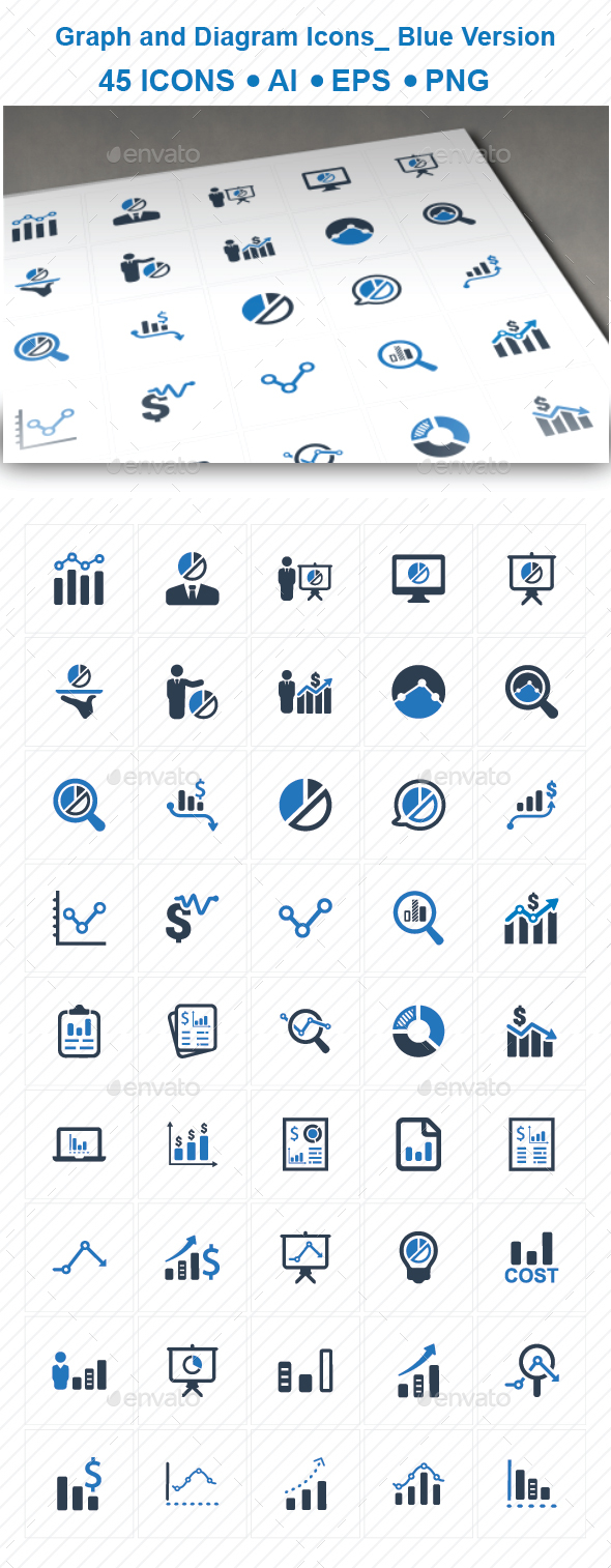 Graph and Diagram Icons_ Blue Version - Business Icons