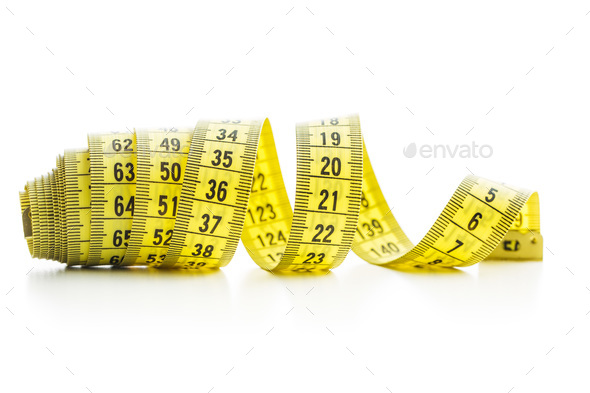 The yellow measuring tape. - Stock Photo - Images