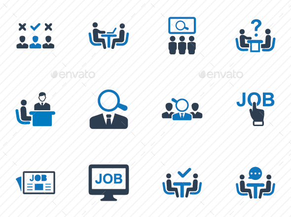 Recruitment Icons - Blue Version - Business Icons
