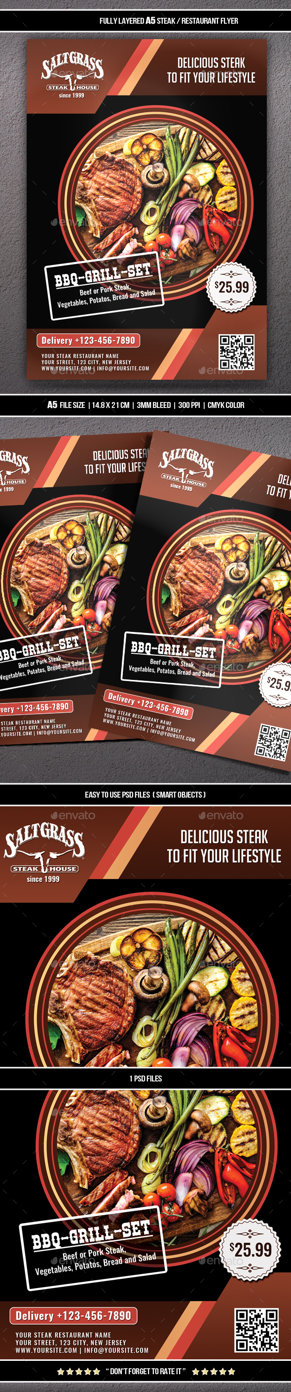 Steak / Restaurant Flyer (A5) - Restaurant Flyers