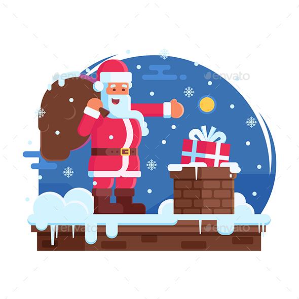 Happy Santa Claus and Roof Chimney - Christmas Seasons/Holidays