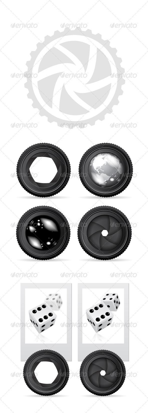 Camera Lense Vesctor Set - Objects Vectors