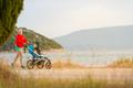 Mother running with stroller, enjoying motherhood at sunset land