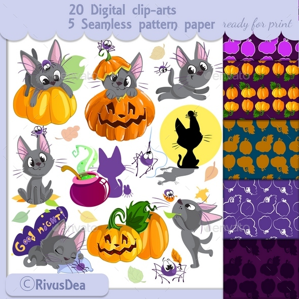 Halloween Clip Art and Digital Seamless Paper Set - Halloween Seasons/Holidays